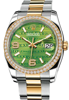 Rolex Архив Rolex 36 mm Steel and Yellow Gold 116243 Green Waves Diamonds Oyster