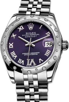 Rolex Datejust 26,29,31,34 mm 31mm Steel and White Gold 178344 Purple