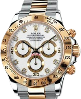 Rolex Архив Rolex Cosmograph 40mm Steel and Yellow Gold 116523 White Diamonds