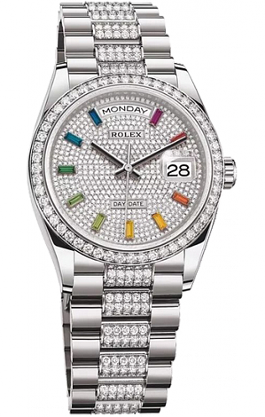 Rolex Day-Date 36 mm white gold and diamonds 128349rbr-0012