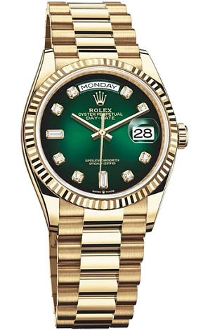 Rolex Day-Date Green Dial yellow gold  128238-0069